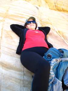 Resting at Calico Lake before heading back to the Red Rock Canyon parking lot.