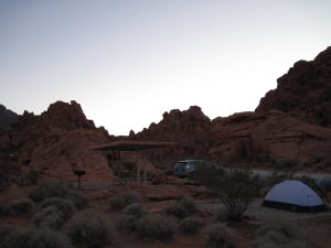 Our tent and campsite at Valley of Fire shortly after the sun fell behind the rock formations.