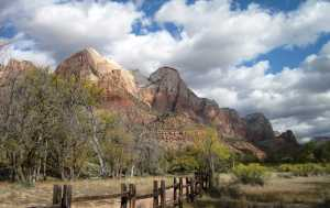 View from the river by the picnic area at the Zion Park entrance.