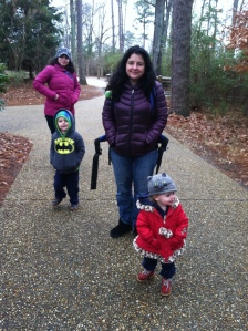 I'm in the back, with my sister and her children. My nephew is wearing a sweater I made for him, my neice, a hat.
