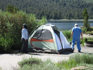 Setting up the tent at Tioga Lake with Joe.