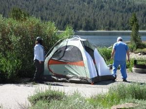 Setting up the tent at Tioga Lake with Joe.