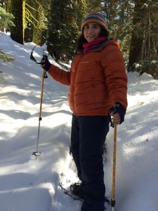 Walking in a path behind 10 people makes snowshoeing a lot easier.