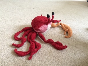 I knitted the legs and claws in the evenings after the kids went to bed. Now my niece has a fiddler crab to play with.